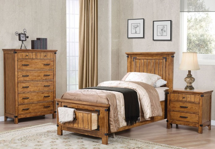 Brenner Rustic Honey Youth Panel Storage Bedroom Set