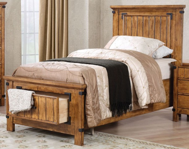 Brenner Rustic Honey Twin Panel Storage Bed