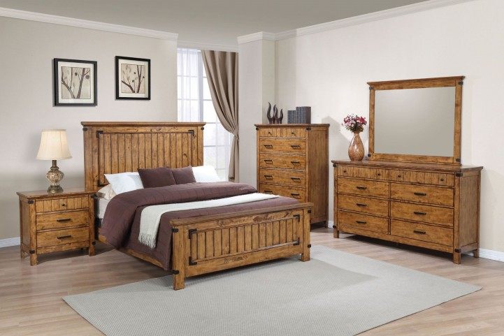 Brenner Rustic Honey Panel Bedroom Set