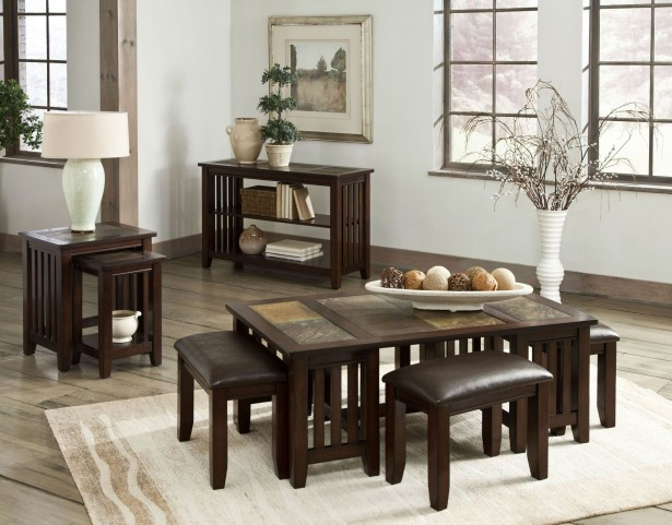 Napa Valley Brown Oak Occasional Table Set