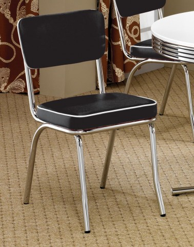 2066 Black Chrome Plated Retro Dining Chair Set of 2