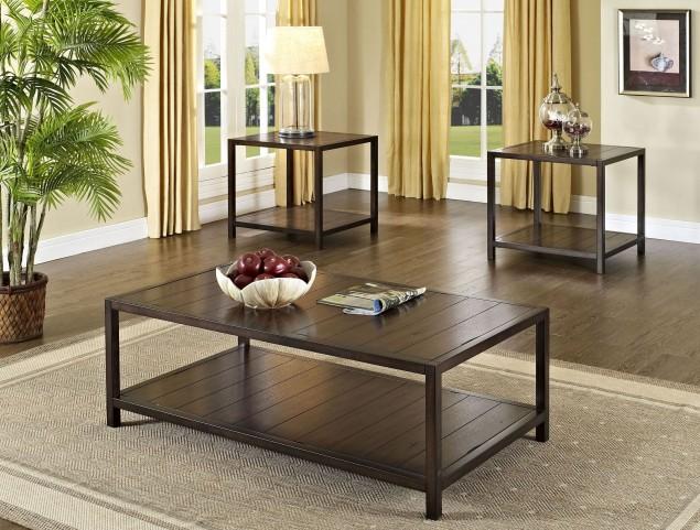 Tucker Golden Brown Oak 3 Piece Occasional Table Set