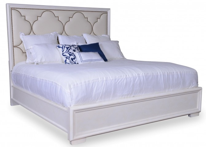 Cosmopolitan Parchment King Upholstered Panel Bed