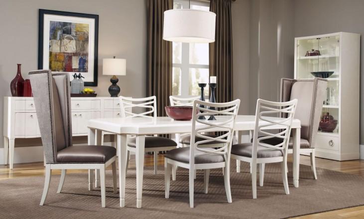 Cosmopolitan Parchment Leg Extendible Dining Room Set