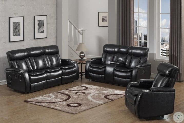 Galaxy Black Power Reclining Living Room Set