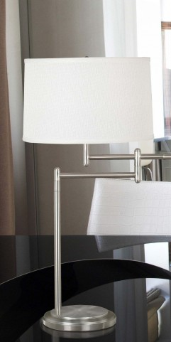 Theta Brushed Steel Swing Arm Table Lamp