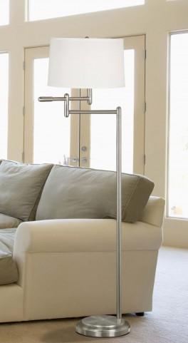 Theta Brushed Steel Swing Arm Floor Lamp