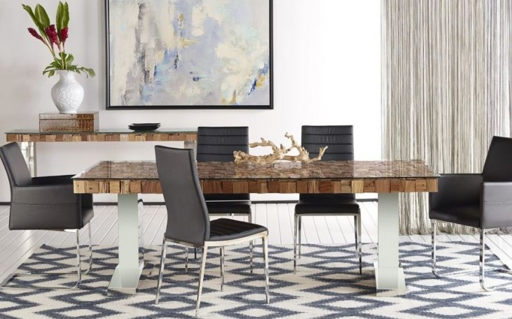 Taj Trapasso Stainless Steel Dining Room Set with Ritz Shine Dining Chairs