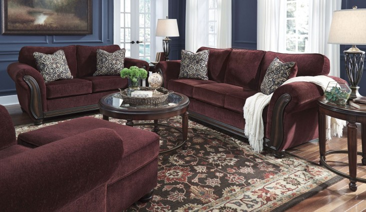 Chesterbrook Burgundy Living Room Set