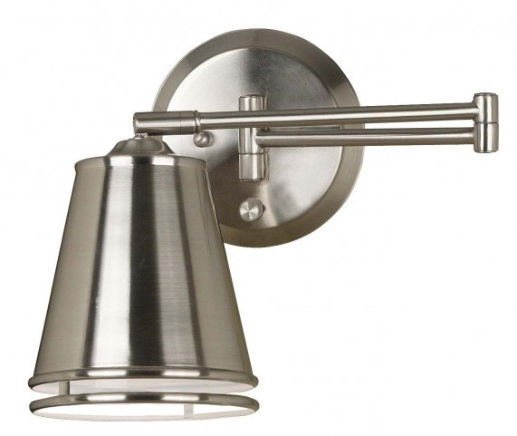 Metro Brushed Steel Wall Swing Arm Lamp