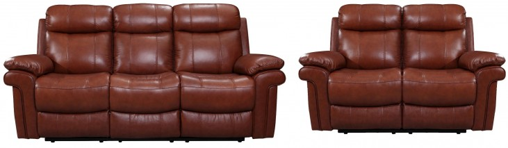 France Saddle Leather Reclining Living Room Set
