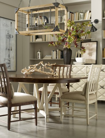 Echo Park Aged Canvas Base Round Extendable Dining Room Set