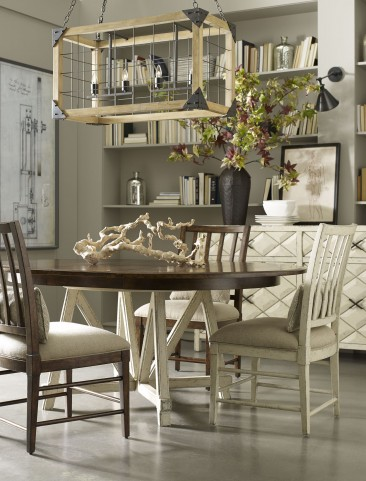 Echo Park Two Tone Round Extendable Dining Room Set