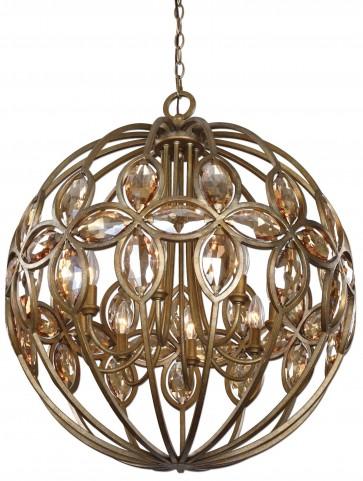 Ambre 8 Light Gold Sphere Chandelier