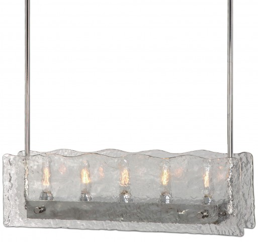 Cheminee 5 Light Textured Glass Chandelier