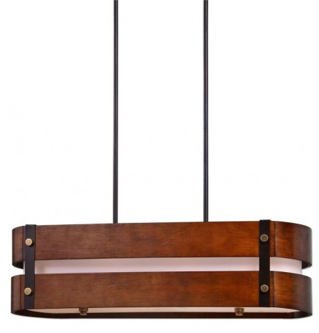 Milford 4 Light Oval Wood Chandelier