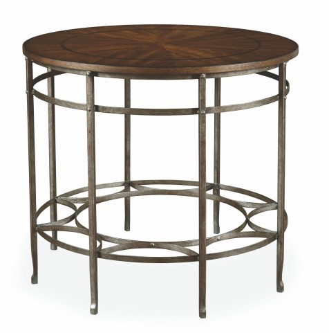 Chateaux Walnut Round Lamp Table
