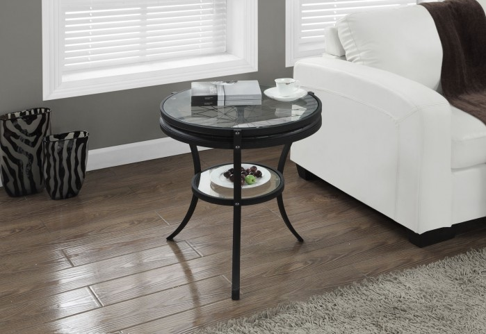 "Hammered Black 20"" Diameter Accent Table"