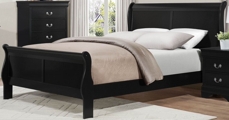 Mayville Burnished Black Queen Sleigh Bed