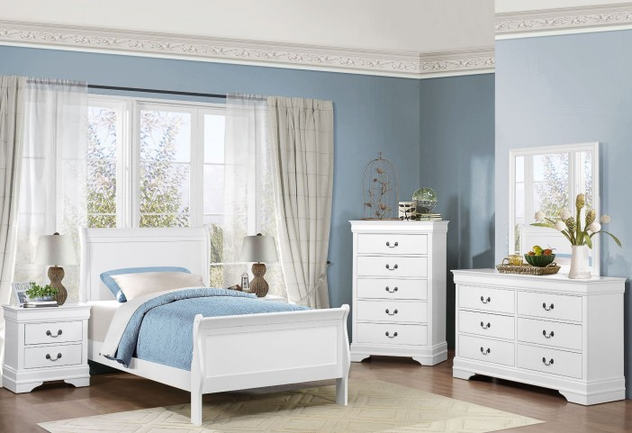 Mayville Burnished White Youth Sleigh Bedroom Set