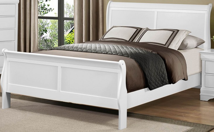 Mayville Burnished White Queen Sleigh Bed