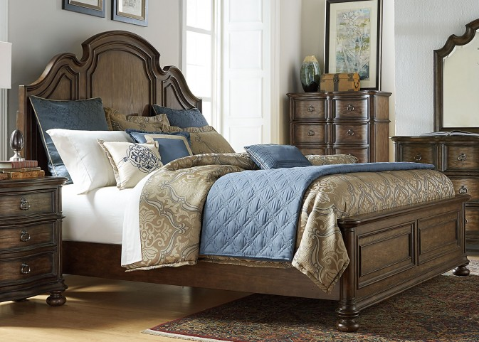 Tuscan Valley Weathered Oak Queen Panel Bed