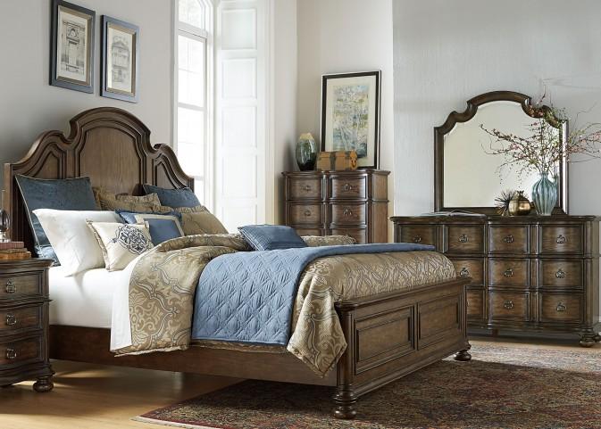 Tuscan Valley Weathered Oak Panel Bedroom Set