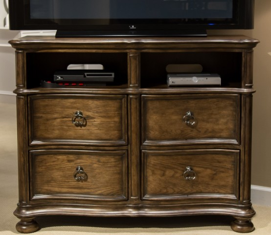 Tuscan Valley Weathered Oak Media Chest
