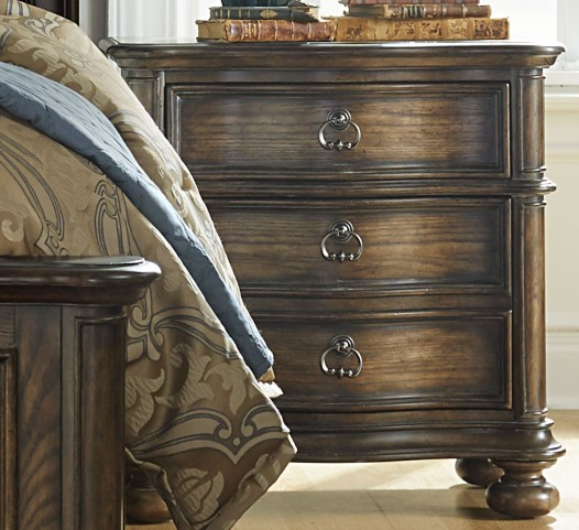 Tuscan Valley Weathered Oak 2 Drawer Nightstand