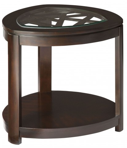Crackle Dark Merlot Triangle End Table