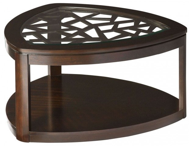 Crackle Dark Merlot Triangle Cocktail Table