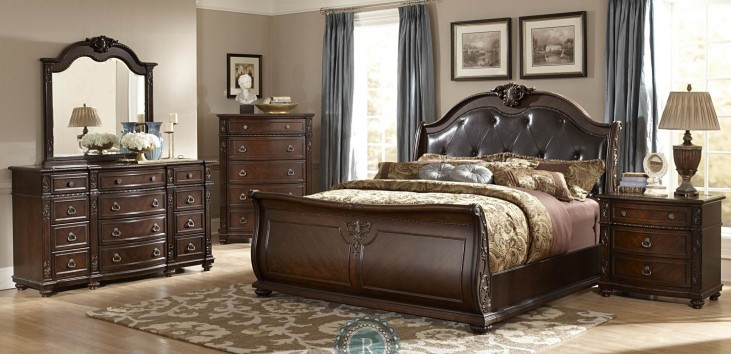 Hillcrest Manor Genuine Leather Sleigh Bedroom Set