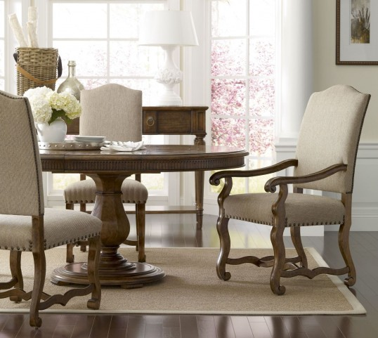 Collection One Keaton Burnished Pine Round Dining Room Set