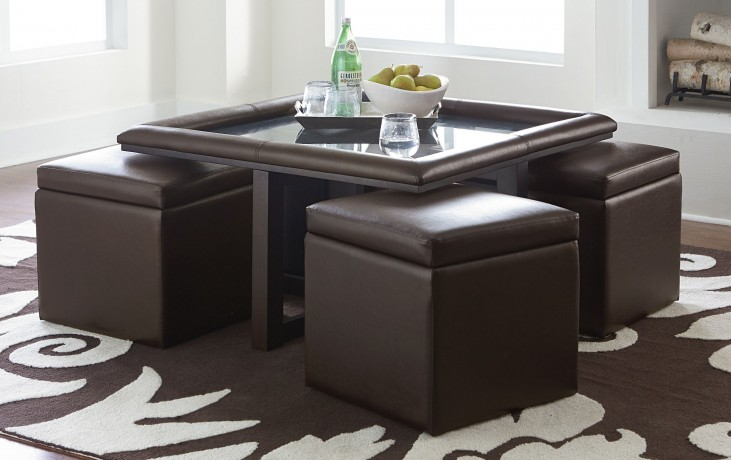 Rendezvous Dark Chocolate Glass Top Cocktail Table with Ottomans