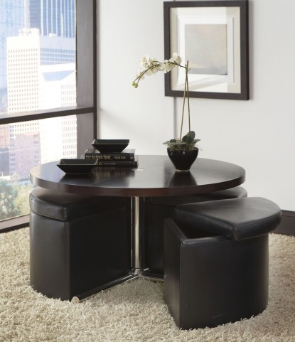 Cosmo Dark Chocolate Round Wood Cocktail Table with Ottomans