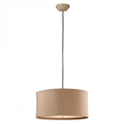 Alamo 3 Light Burlap Drum Pendant