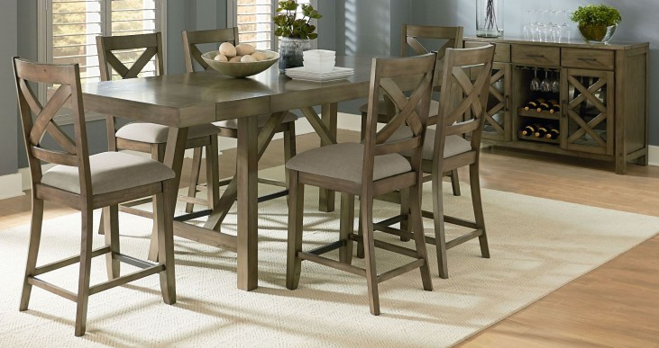 Omaha Weathered Burnished gray Extendable Counter Height Dining Room Set