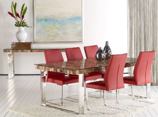 Taj Viaggi Magnolia Rectangular Stainless Steel Dining Room Set with Regis Vita Red Dining Chairs