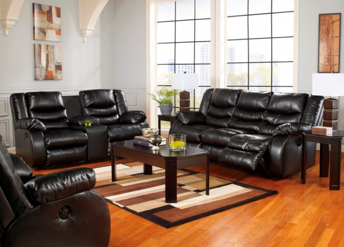 LineBacker DuraBlend Black Reclining Living Room Set