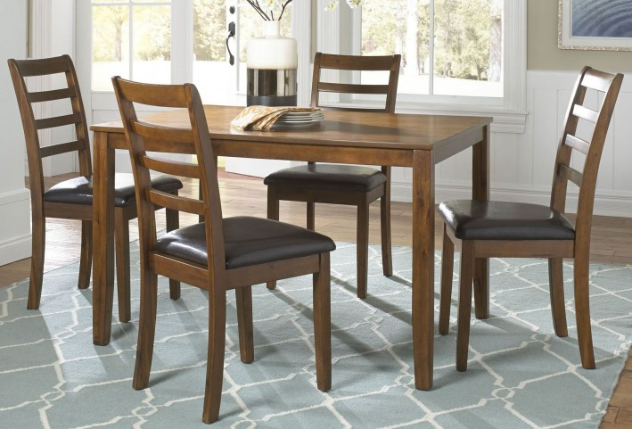 Tucson Dining II Oak 5 Piece Rectangular Leg Table Set