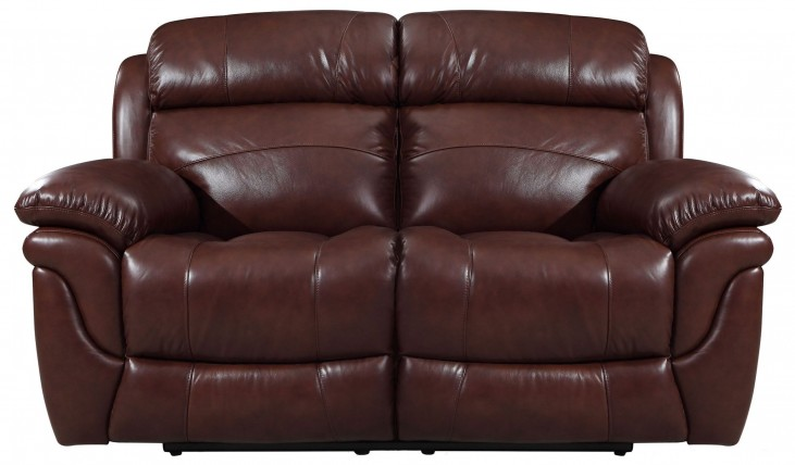 Edinburgh Brown Leather Power Reclining Loveseat