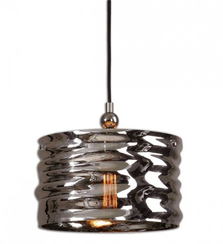Aragon 1 Light Nickel Glass Pendant