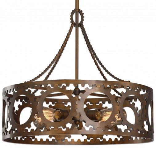 Antrim 4 Light Bronze Drum Pendant