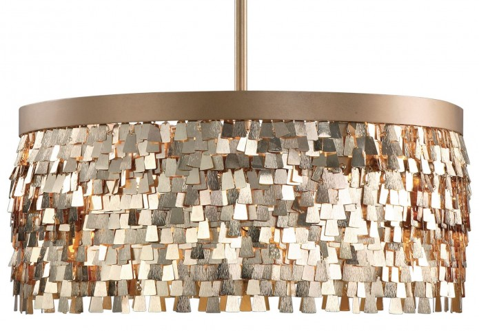 Tillie 3 Light Textured Gold Pendant