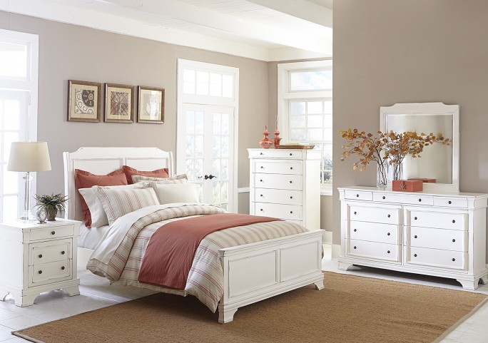Derby Run White Sand Panel Bedroom Set
