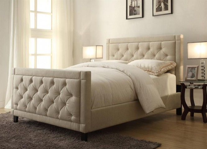 Nusilk Oyster Queen Upholstered Bed