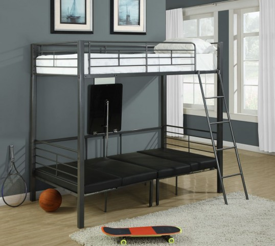 Charcoal gray Metal Twin Bunk bed