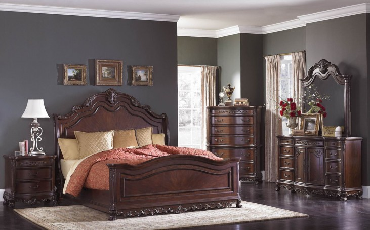 Deryn Park Cherry Sleigh Bedroom Set