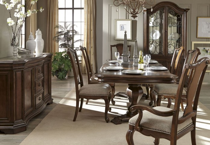 La Viera Double Pedestal Extendable Dining Room Set