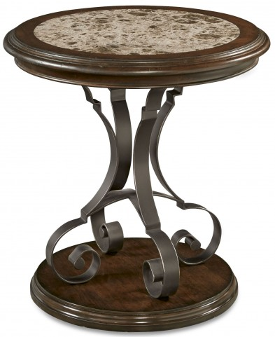 La Viera Stone Top Round Lamp Table